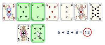 Pyramid solitaire 13 punten